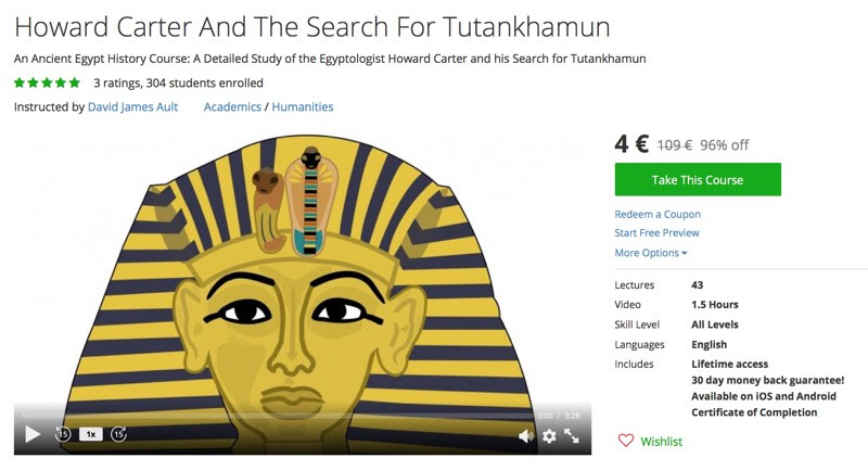 David James Udemy class on Carter's search for Tut